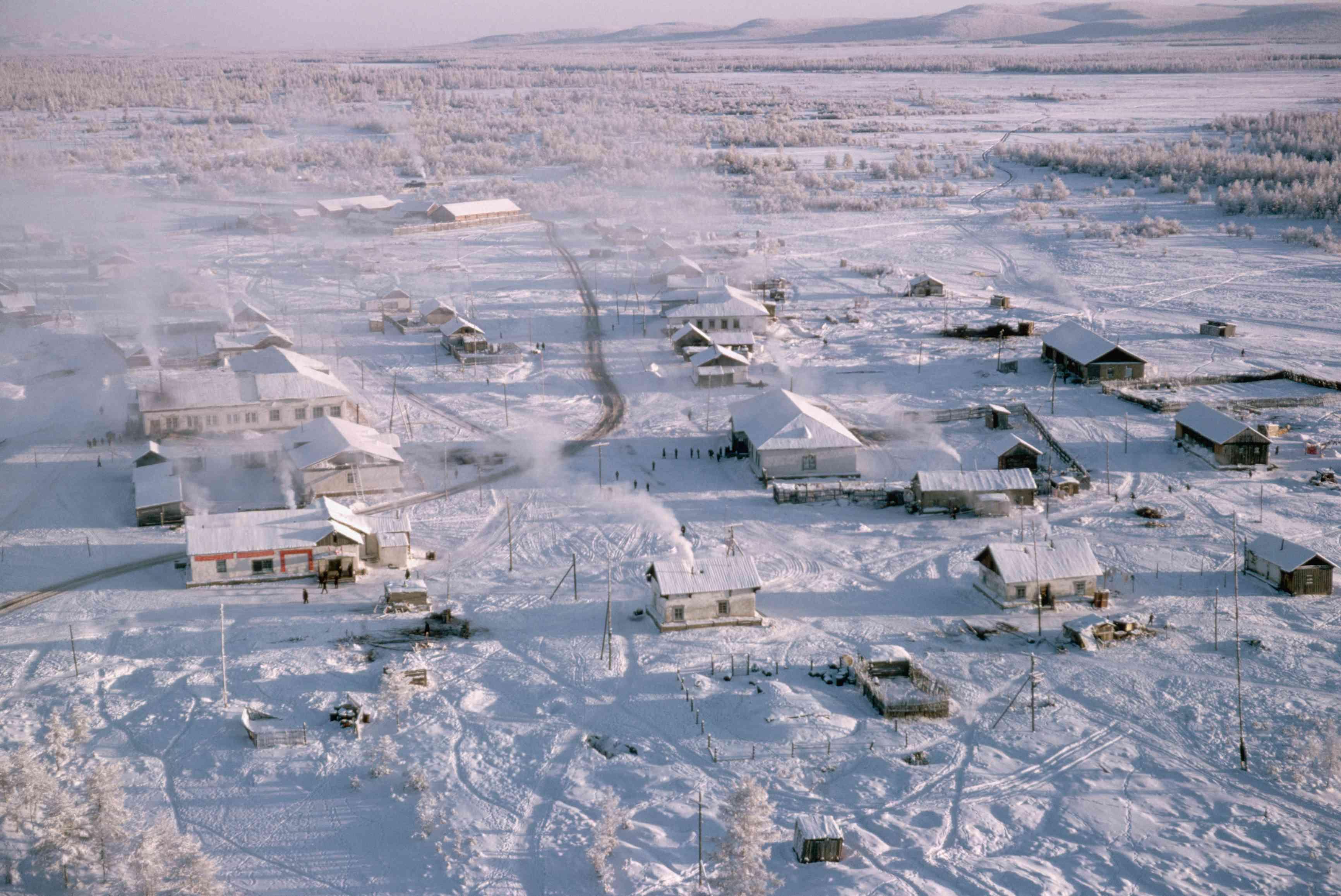 Aerial view of Oymyakon Town, Siberia, Russia