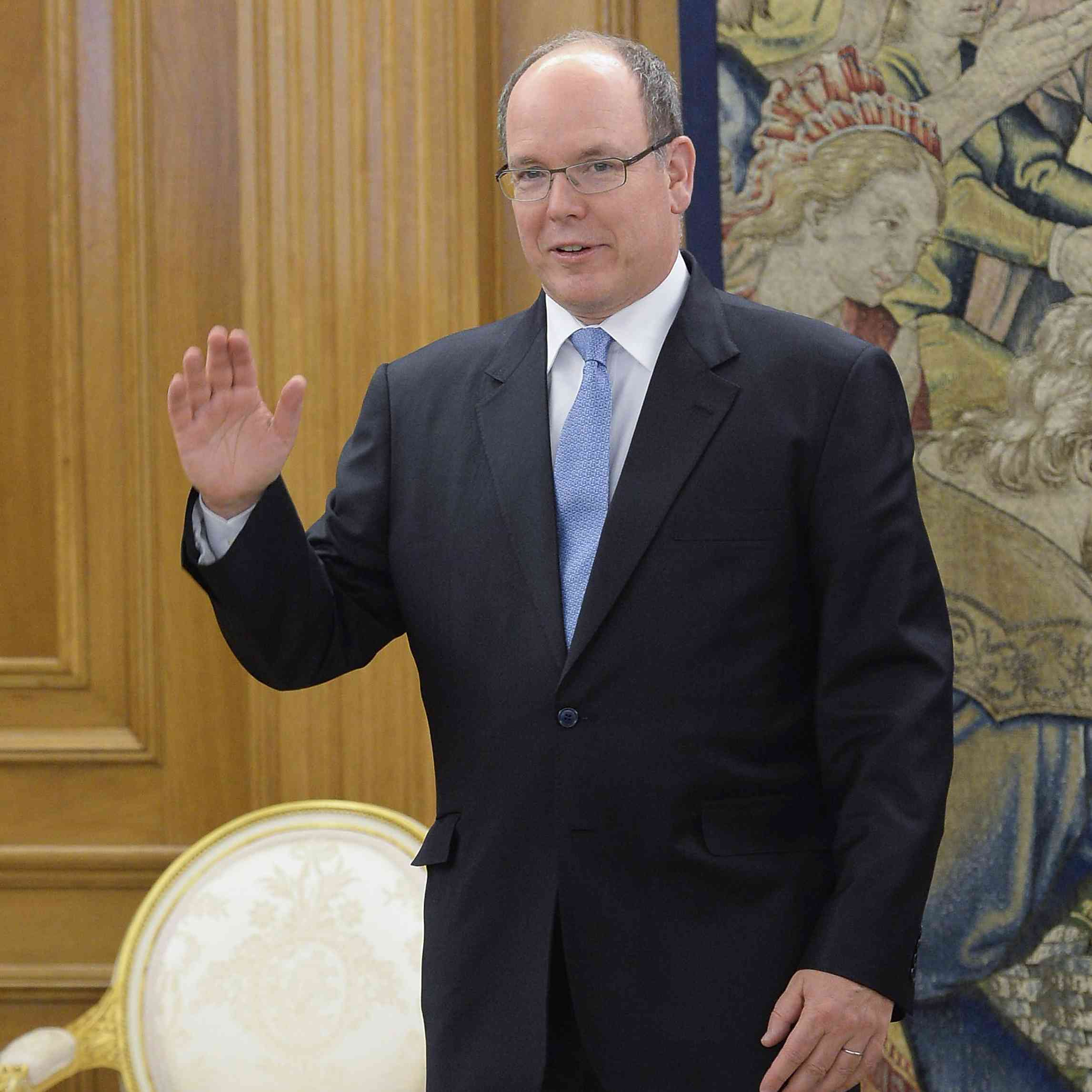 Prince Albert II of Monaco waving at a state function