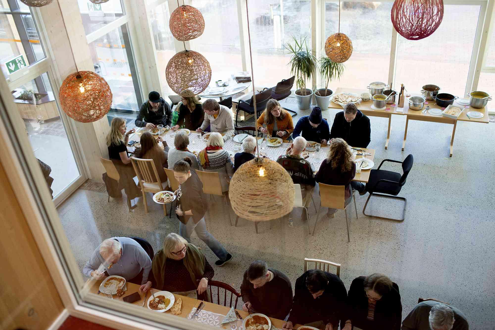 Vindmøllebakken Cohousing Project by Helen & Hard Architects dining area
