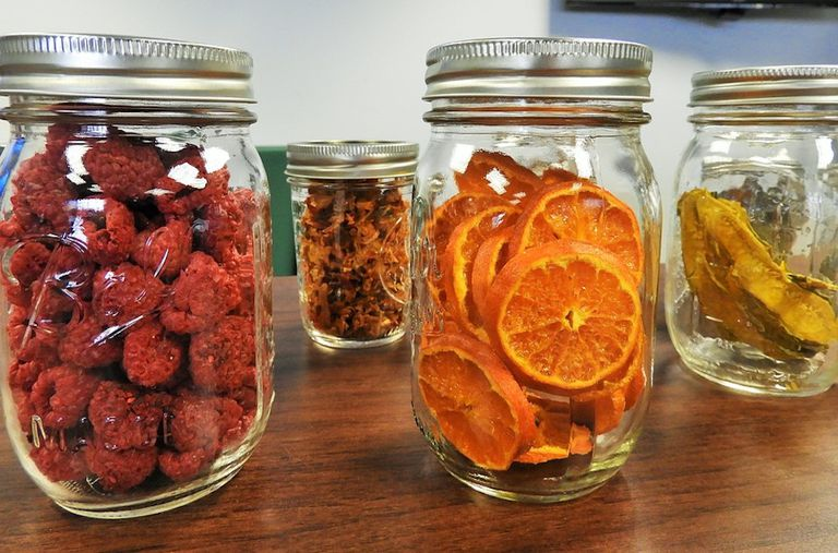 Glass jars with dried fruit