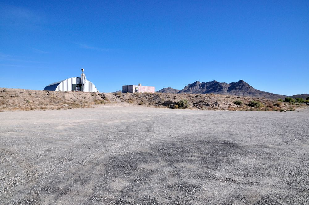 Two buildings outside of Are 51 in the Nevada desert