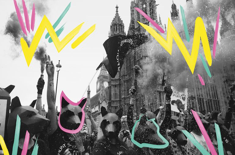 photo composite of illustrations over black and white photo of protest in england