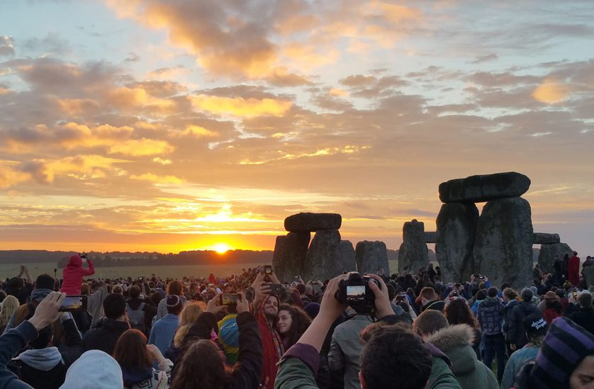 Crowds greeting the summer solstice at Stonehenge in the U.K.