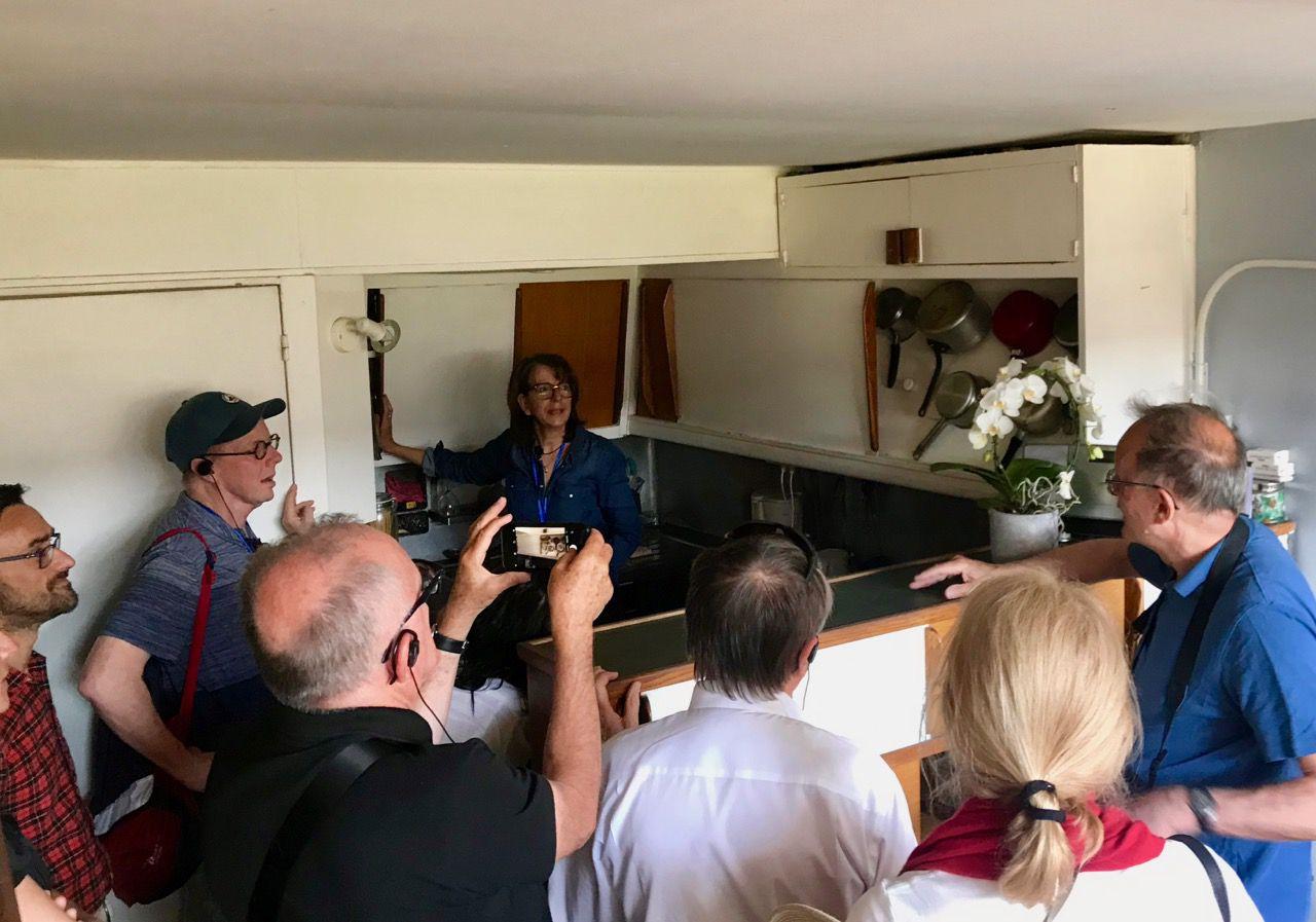 Dominique explaining kitchen
