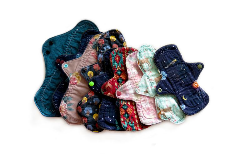 Set of cloth pads in different fabrics and sizes