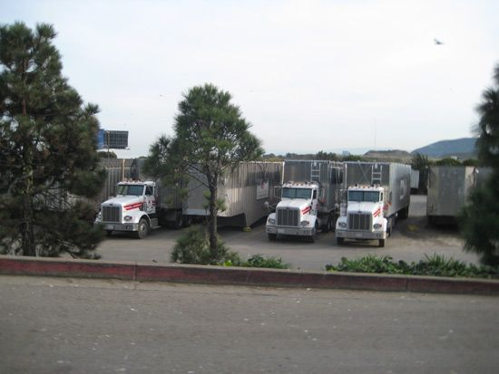 Large trucks lined up in a parking lot.