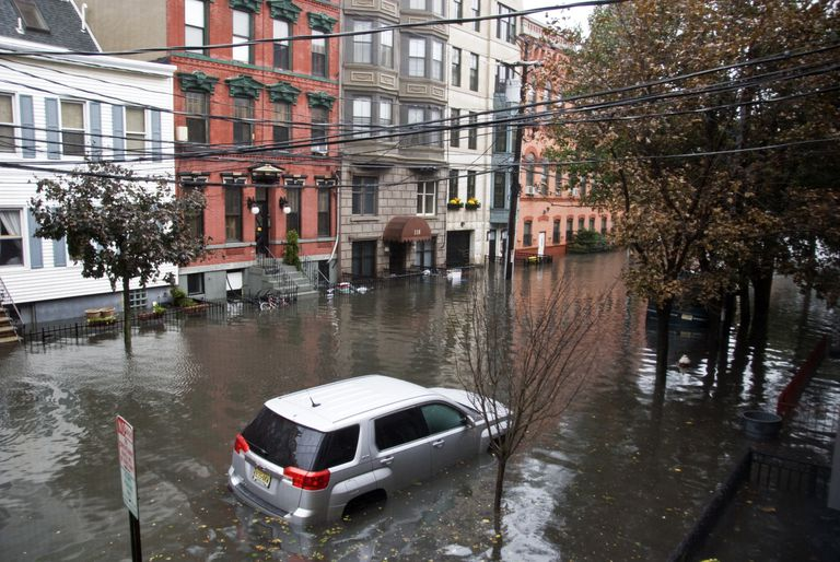 Flooded streets in Hoboken, New Jersey after Hurricane Sandy