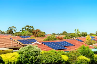 Solar panels on rooftops in South Australia