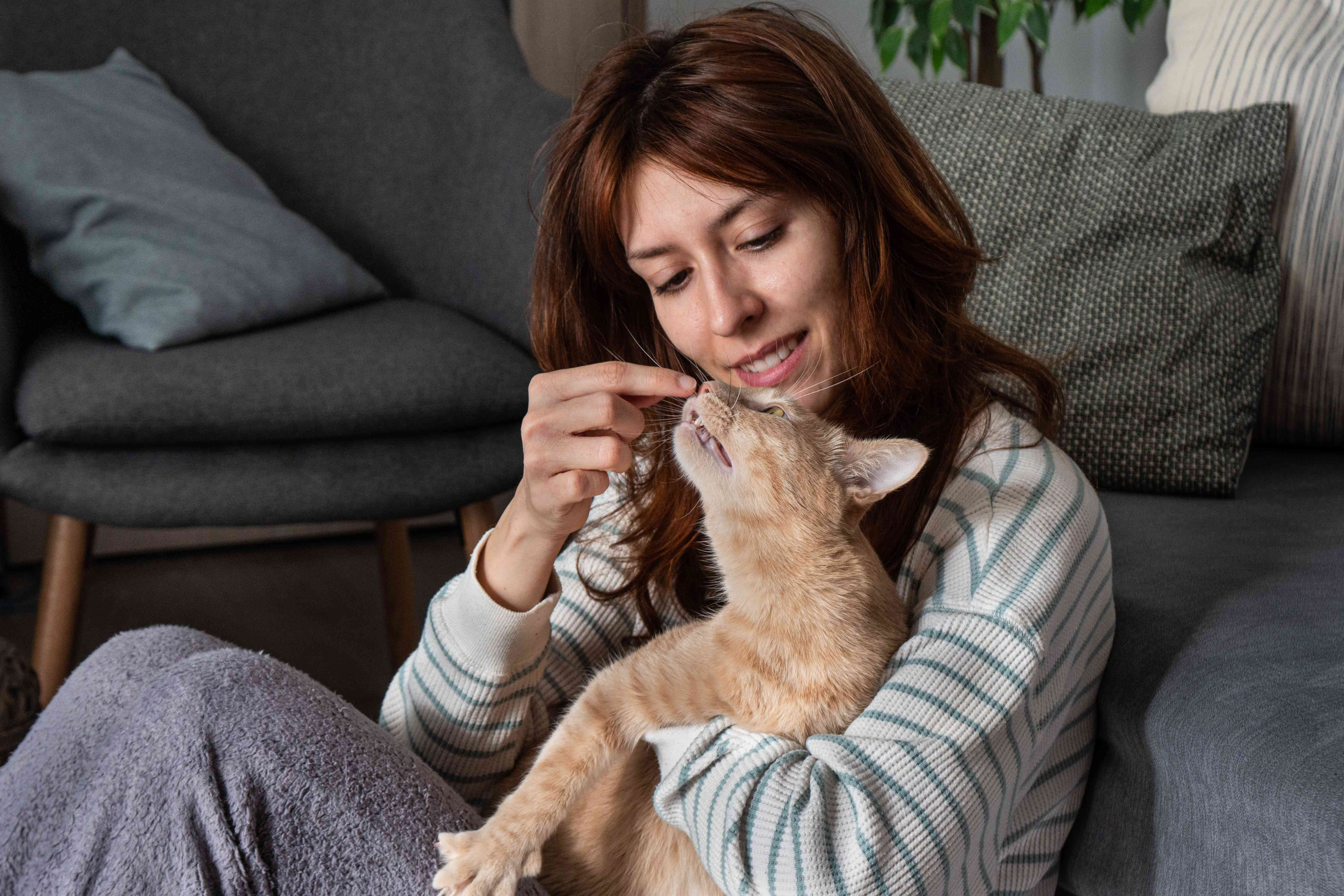 woman hugs kitty while booping on nose