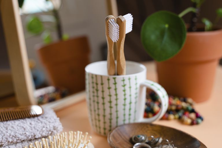 Two bamboo toothbrushes in a mug on a counter with brushes, a plant, and a mirror