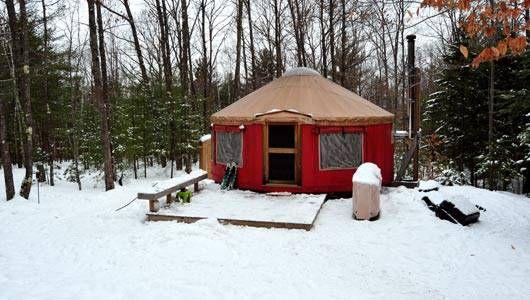 Yurt Vacation Rental in a snowy field