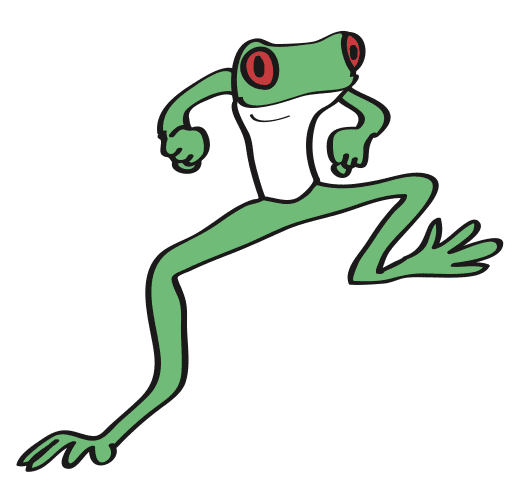drawing of a dancing frog