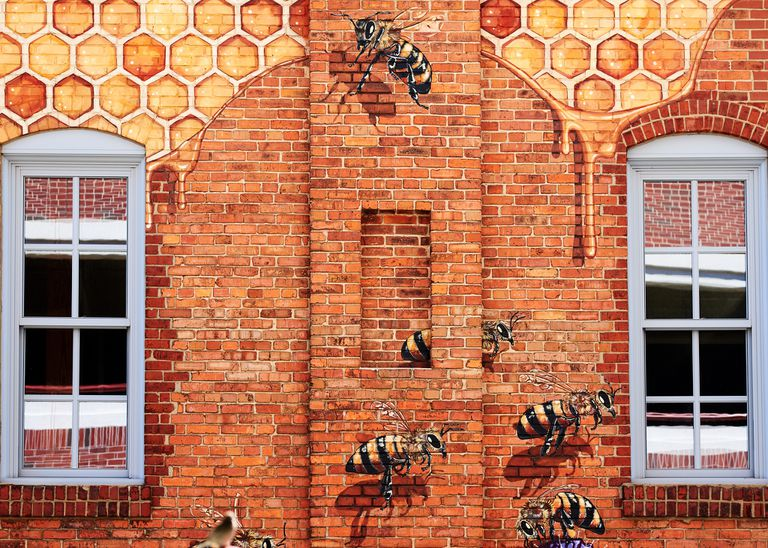 A bee and honey mural on the offices of Burt's Bees.