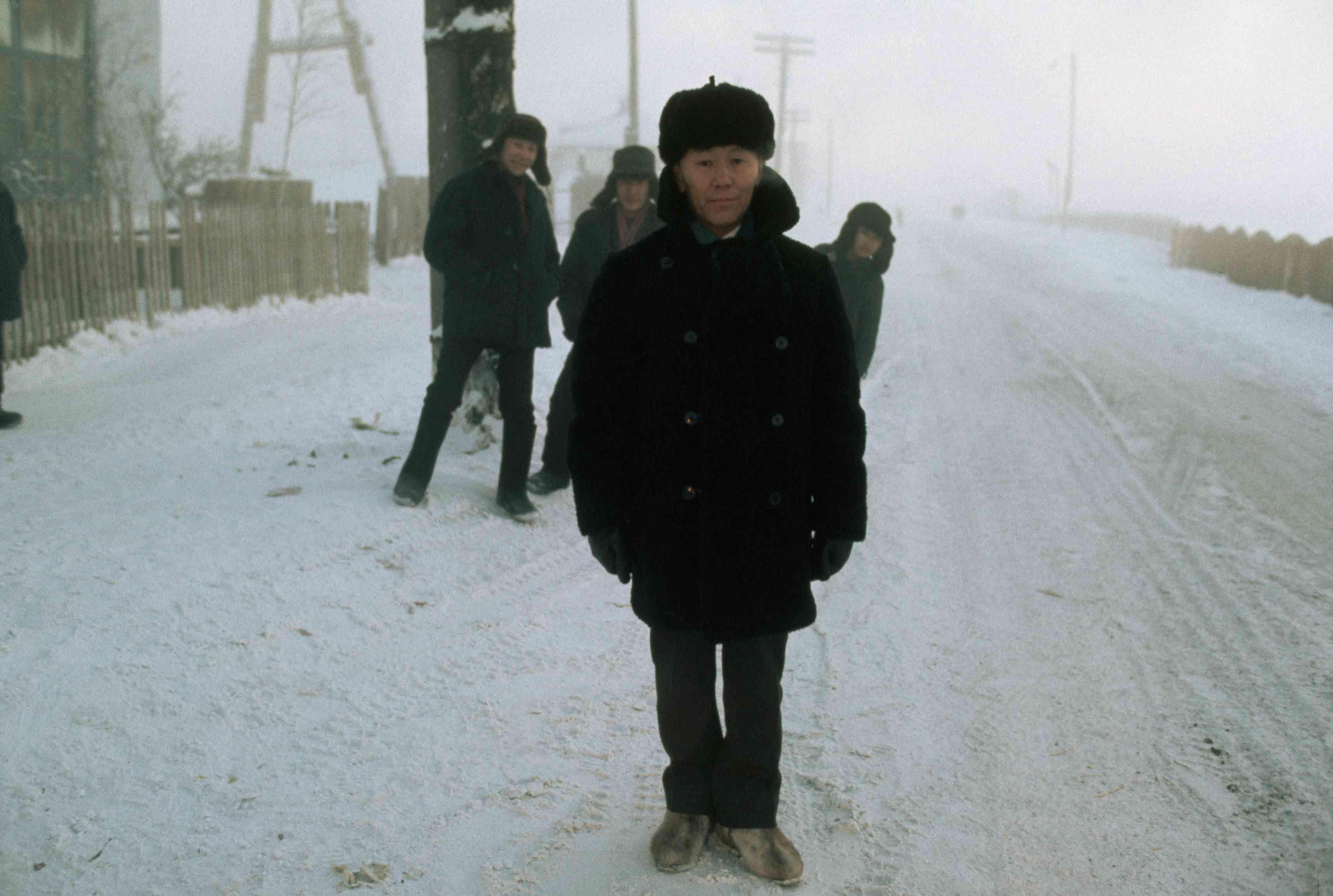 Mayor of Verkhoyansk on a snow-covered street