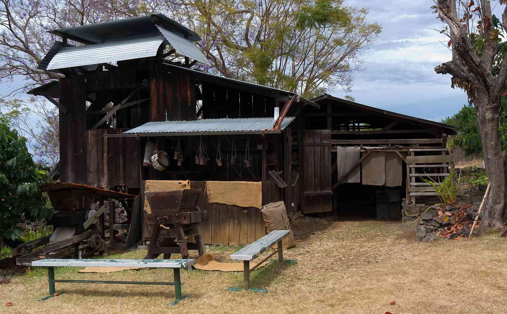 A preserved coffee mill on a farm in Kona, Hawaii