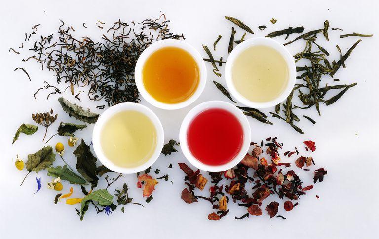 Four varieties of tea: black, green, fruit and herb