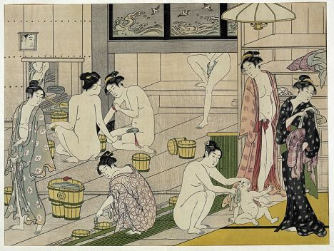 japanese women bathing image