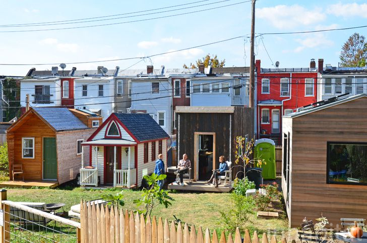 A community of tiny homes bunched close together