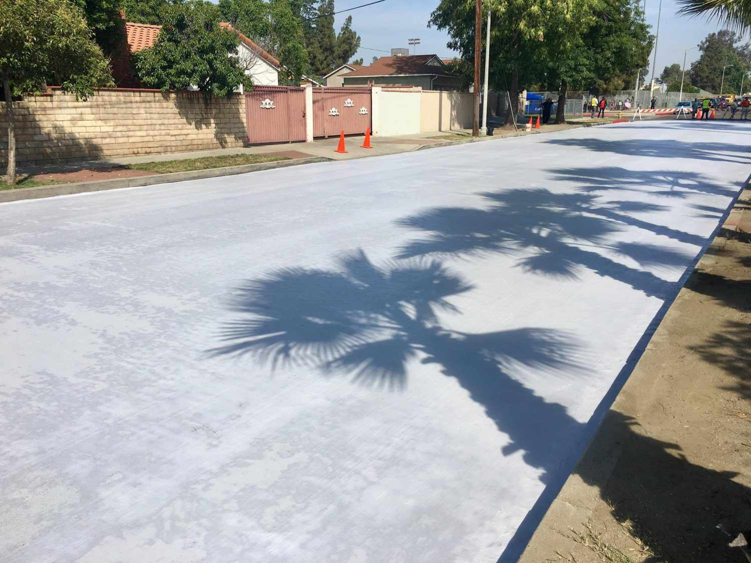 Street treated with CoolSeal in Los Angeles