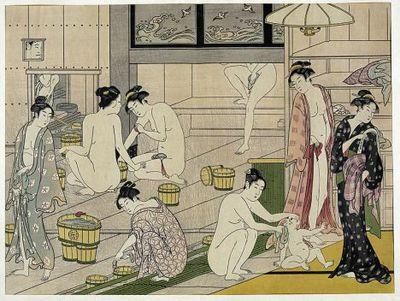 japanese women bathing image