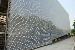 The exterior of a building in Taiwan made out of plastic bottles.