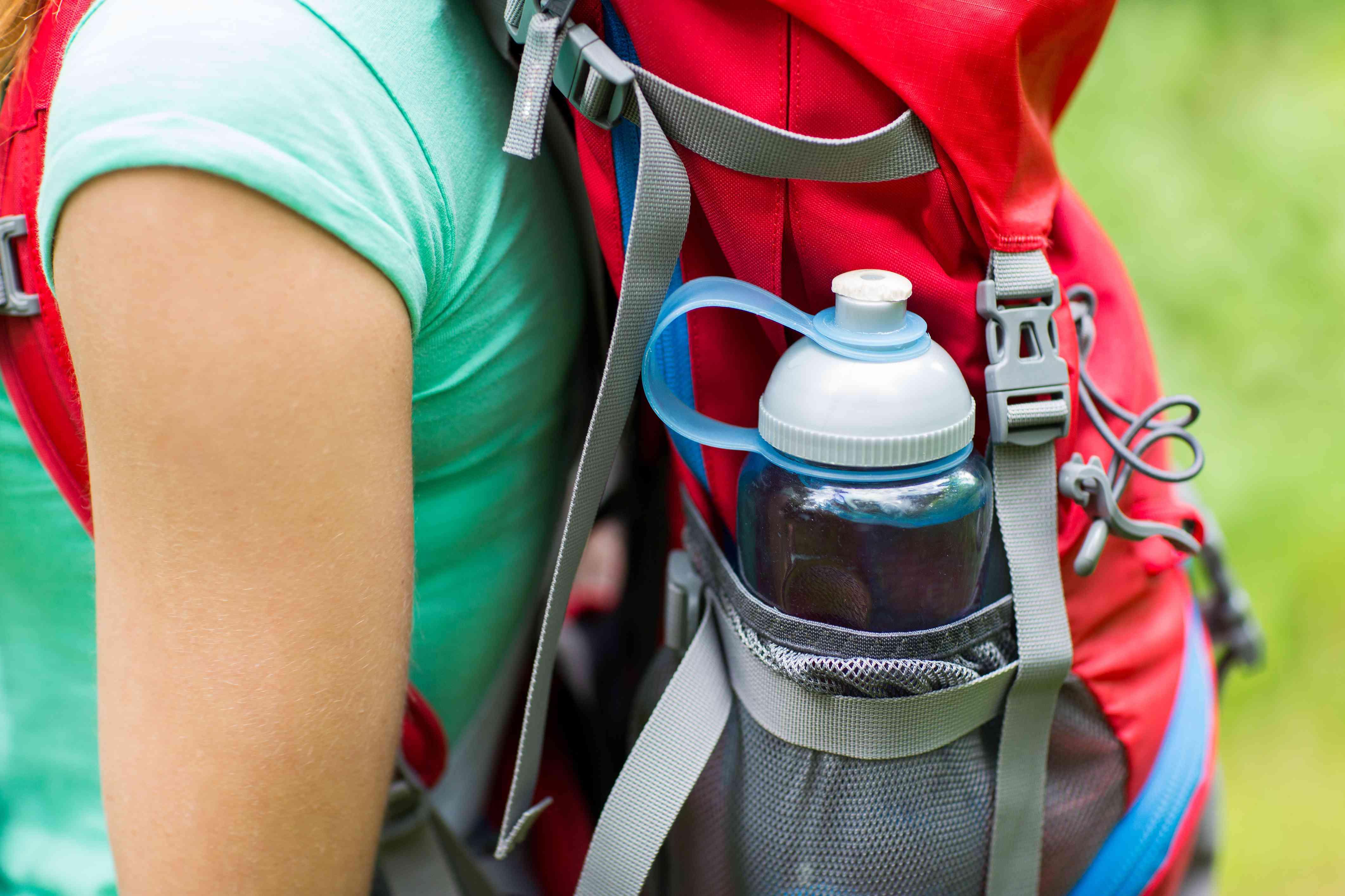 water bottle in backpack