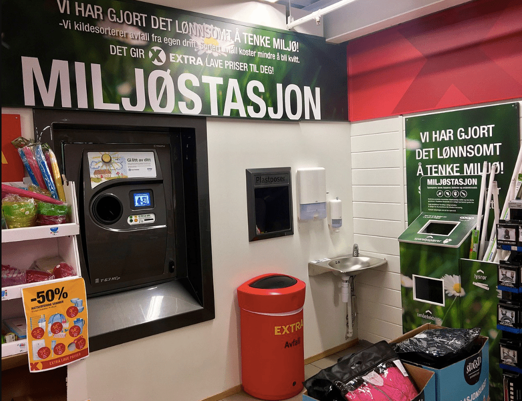 Norwegian supermarket recycling station