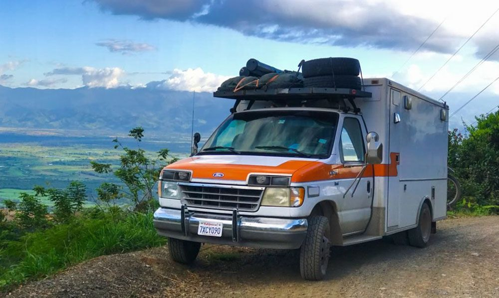 The ambulance RV parked at an overlook