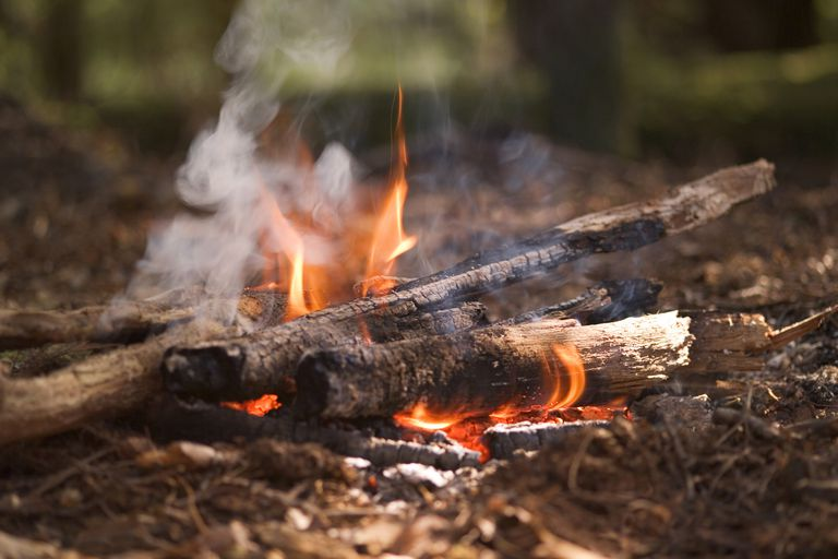 Closeup of a small campfire