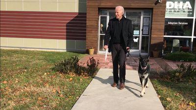 President Joe Biden with his rescue dog major outside of Humane Society.