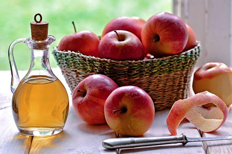Bottle of organic apple vinegar