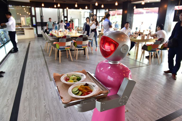 Robot waiter at a robot-themed restaurant in China