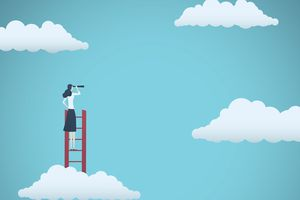 woman on ladder looking at clouds through a telescope