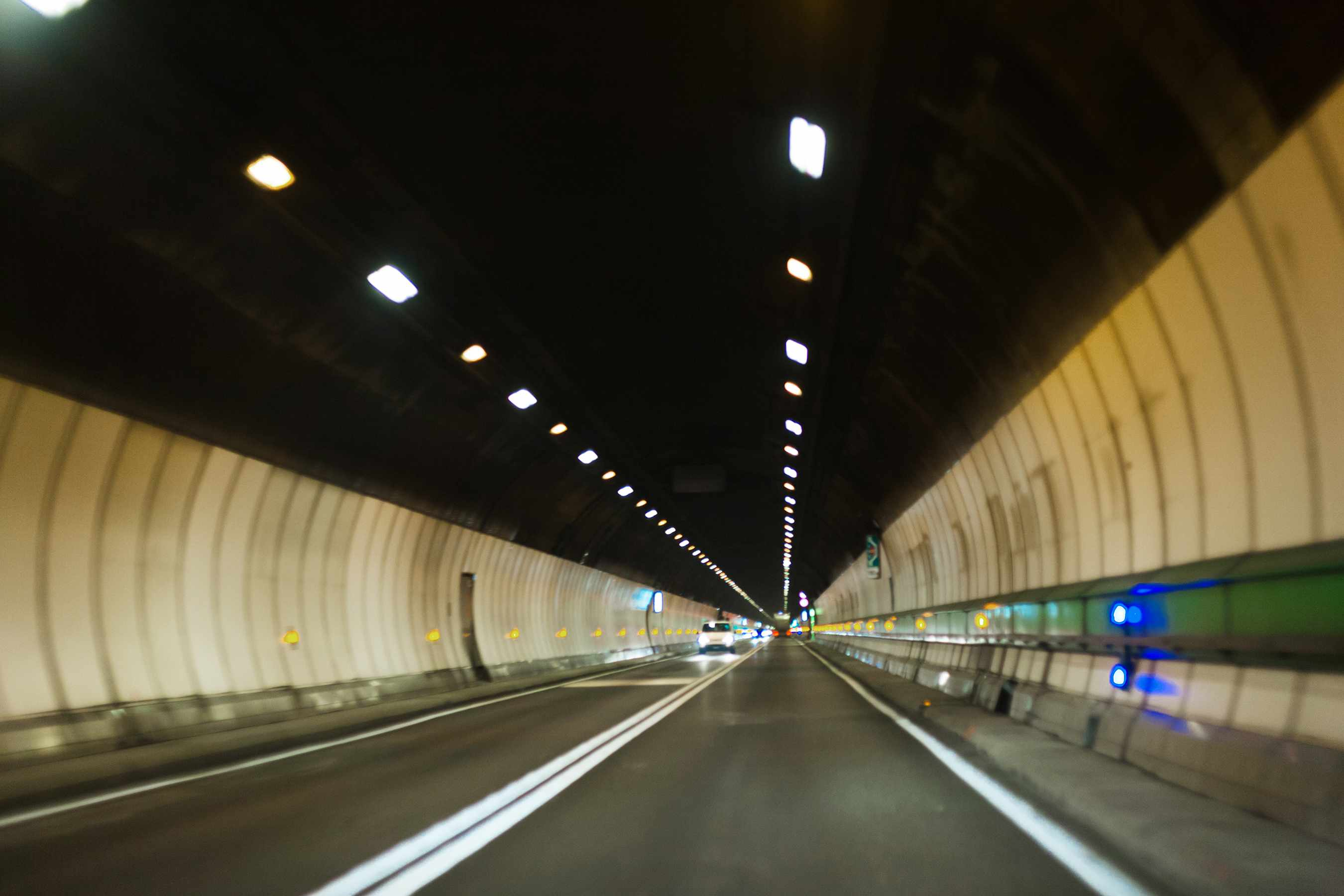 Traffic flows through the 7.2-mile-long Mont Blanc Tunnel, which runs between Chamonix, France, and Courmayeur, Italy