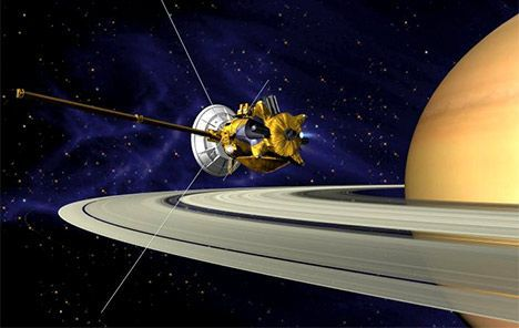 Cassini during the Saturn Orbit Insertion