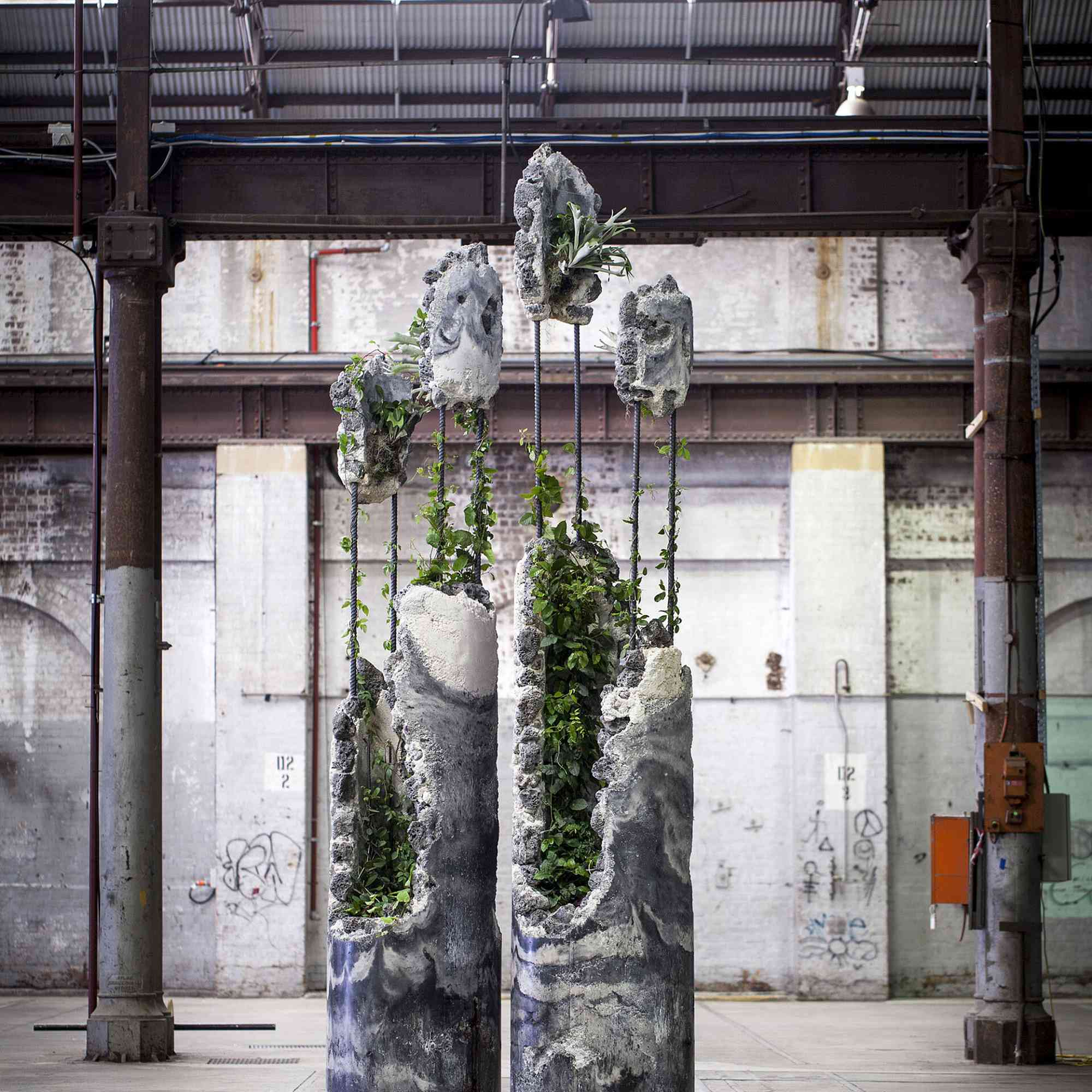 reclaimed industrial materials and plant sculptures Jaime North