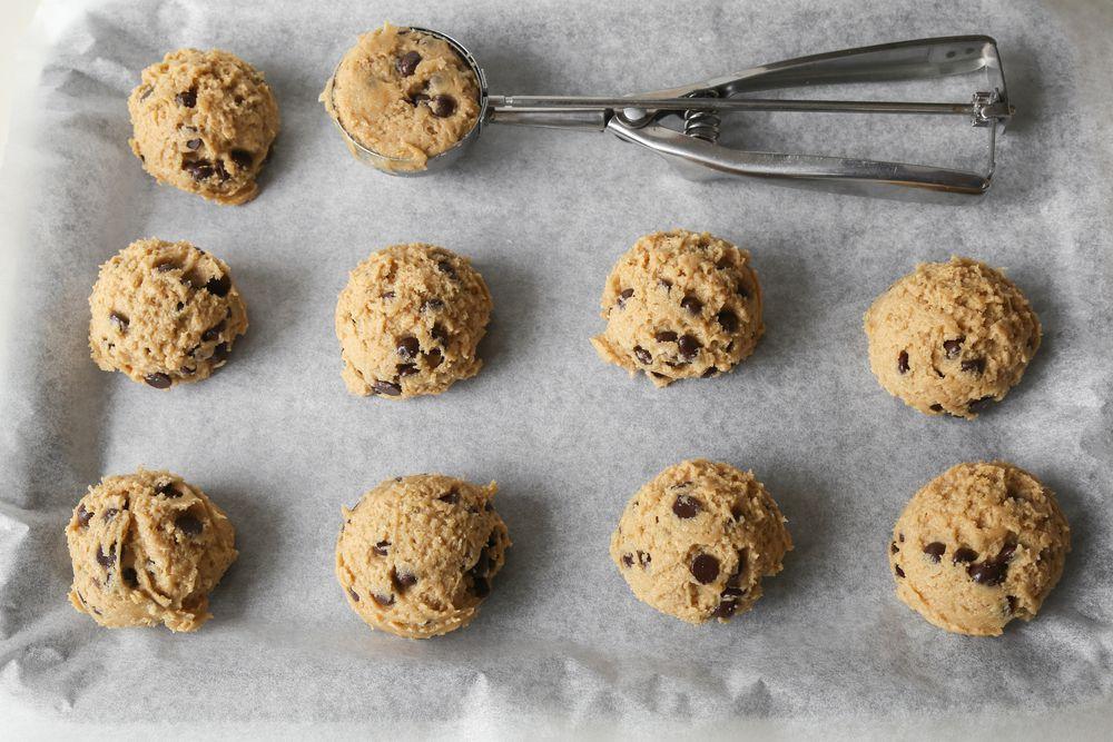 cookie dough balls and scooper