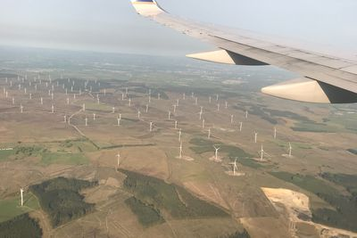 Flying over Scottish Wind Farm
