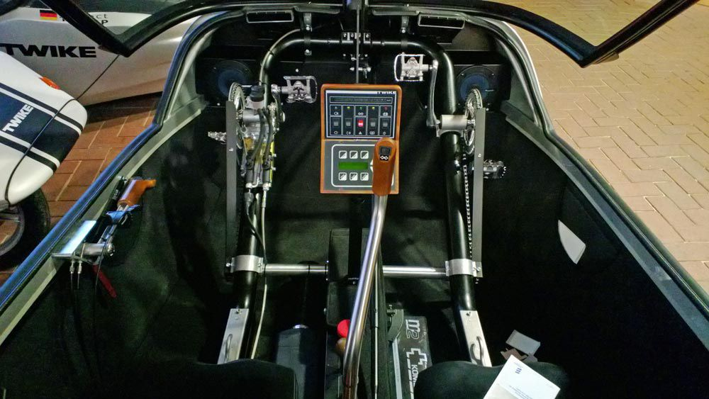 Twike passenger compartment with pedal power