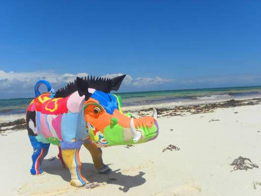 warthog sculpture on beach