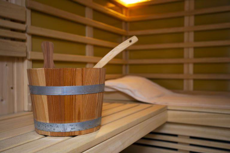 A bucket at a wood spa.