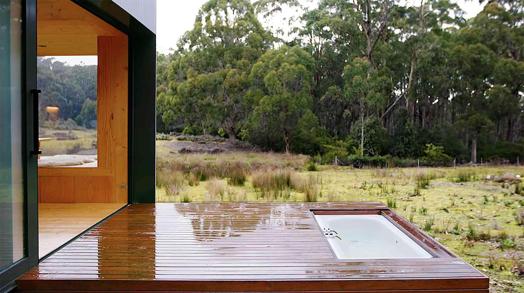 Bruny Island Hideaway by Maguire + Devin outdoor deck bath