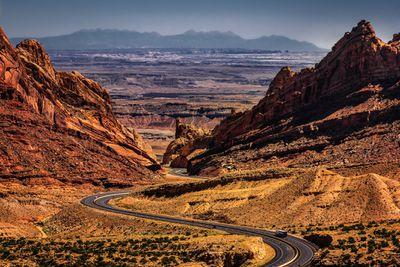 Interstate 70 running through canyons in Utah