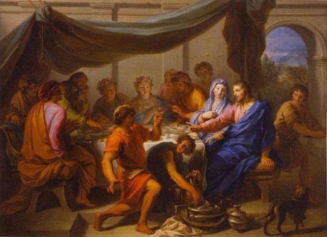 Daniel Sarrabat's painting of the wedding at Cana