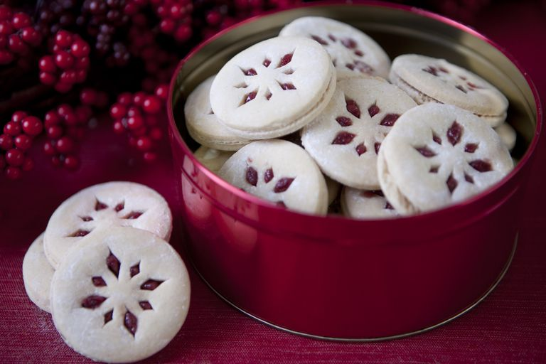 christmas cookies in a red tin