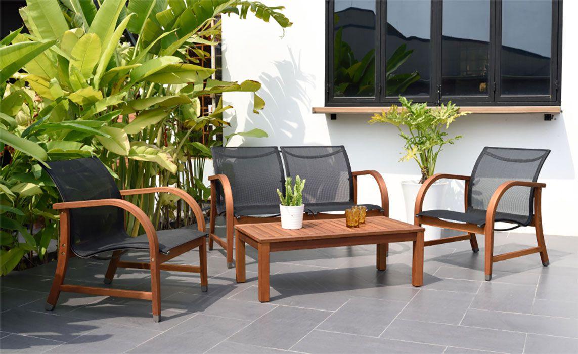 Sustainable Eucalyptus 4-Piece Patio Deep Seating Set