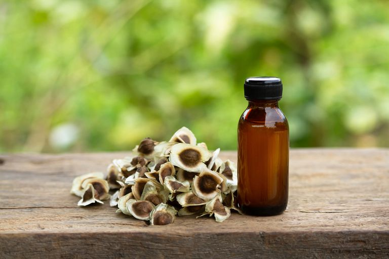 Moringa oil in bottle with seeds on wooden table
