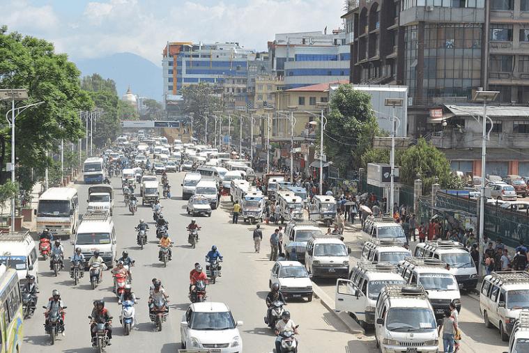 A traffic-clogged road in Kathmandu, Nepal
