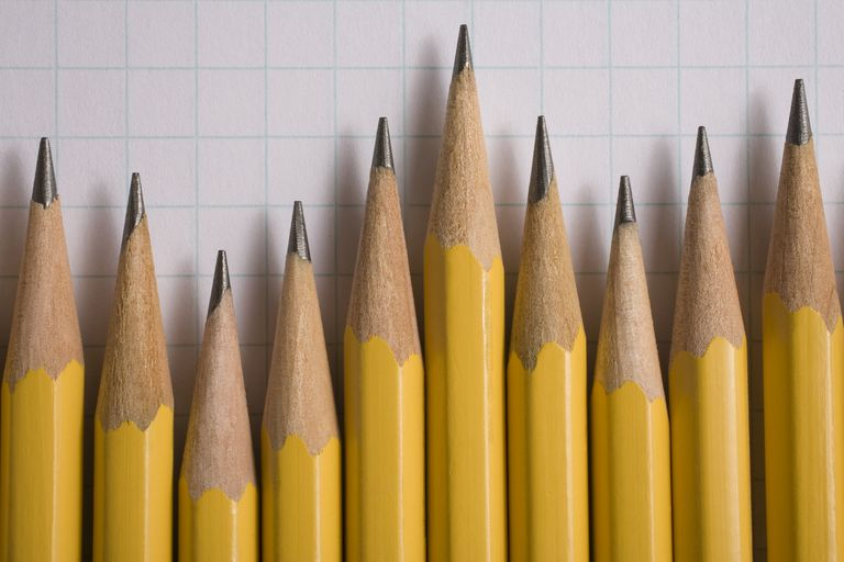 Pencils laying on graph paper