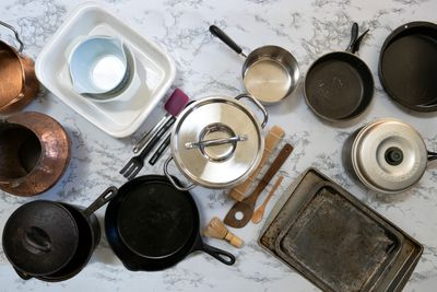 over head shot of various cookware